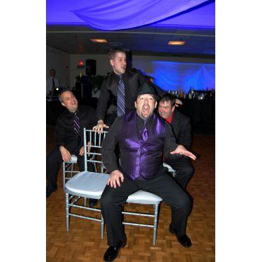 blue backdrop at wedding