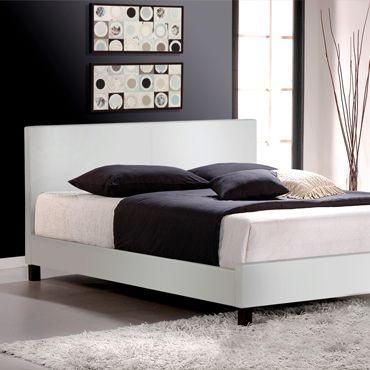 Mirabel White Leather Platform Bed