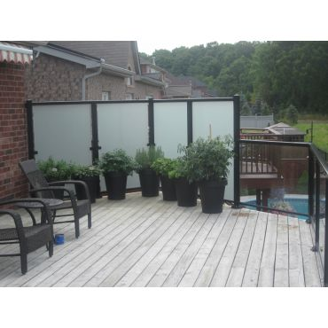 Frosted privacy glass railing