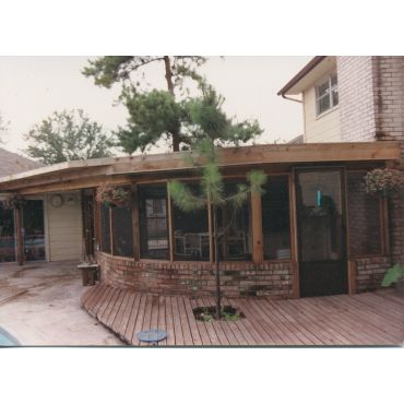 Back yard patio with solar screen.