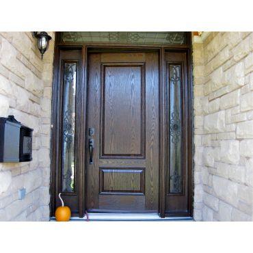 Fiberglass woodgrain Stained entrance do