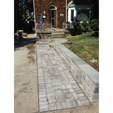 Walkway and retaining wall.