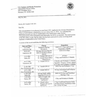 us entry waiver Permanent Clearance Ltr