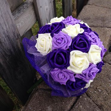 purple,lavender,ivory and white rose bou