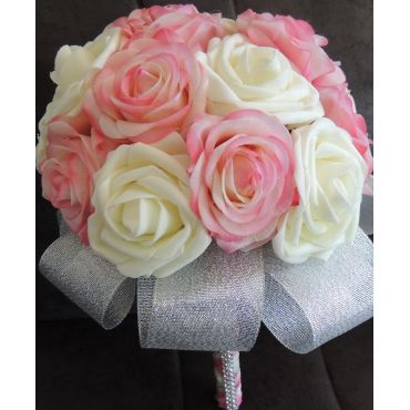 mixed pink and ivory rose bouquet