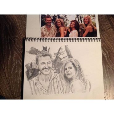 first half of family portrait sketch