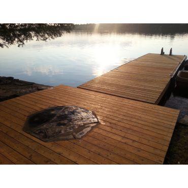 Natural limestone, cedar dock