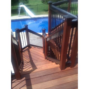 Ipe deck and railing, down to the pool!