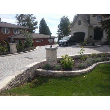Natural stone walls, garden & driveway