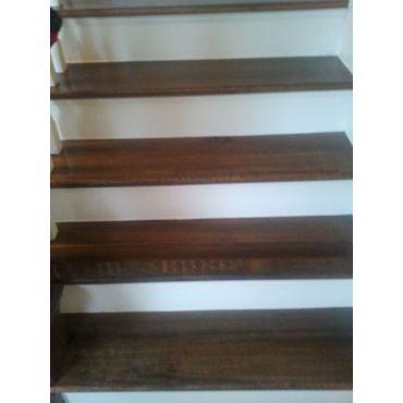 we refinish dark stained wood stairs too