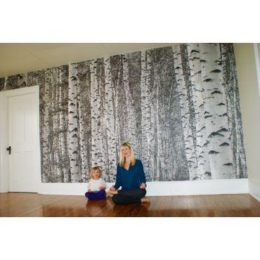 Birch Tree Forest B&W wall mural