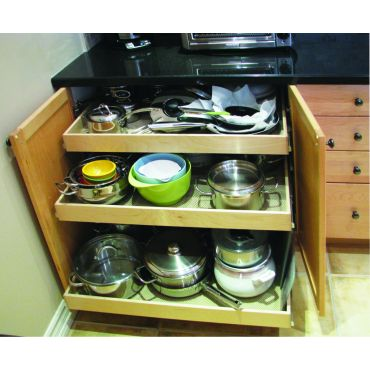 Pull-out shelves for pots and pans