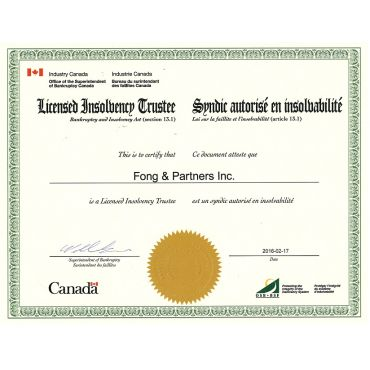 Fong and Partners Inc., Trustee License