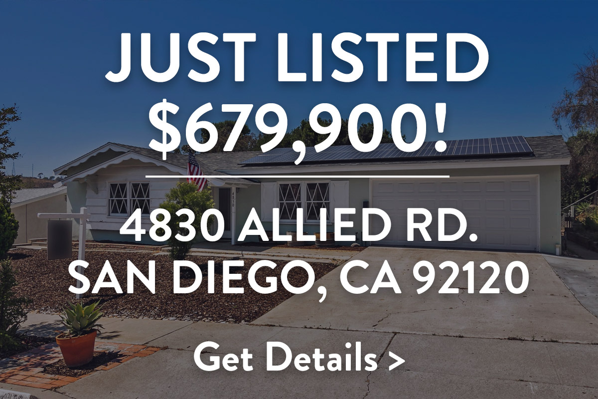 Just Listed $679,900! 4830 Allied Rd. San Diego, CA 92120. Get Details