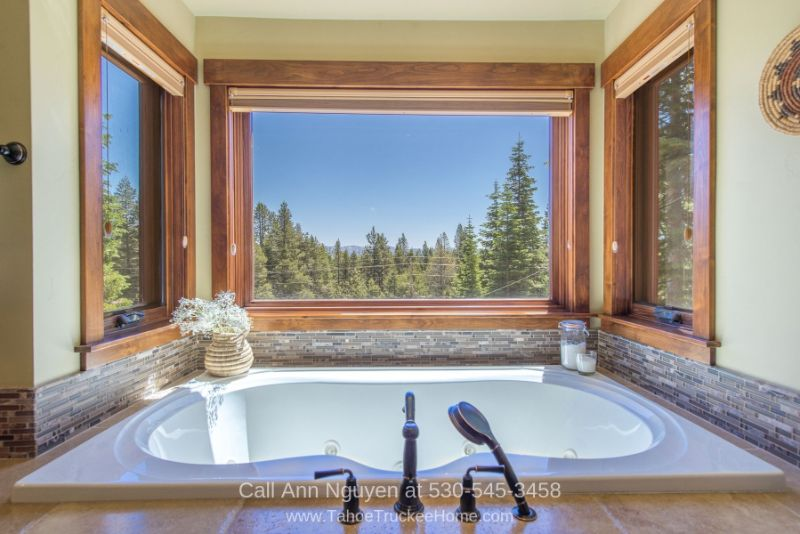 Real Estate Properties for Sale in Tahoe Donner CA - Luxury awaits you in the master bathroom of this vacation home in Tahoe Donner CA.