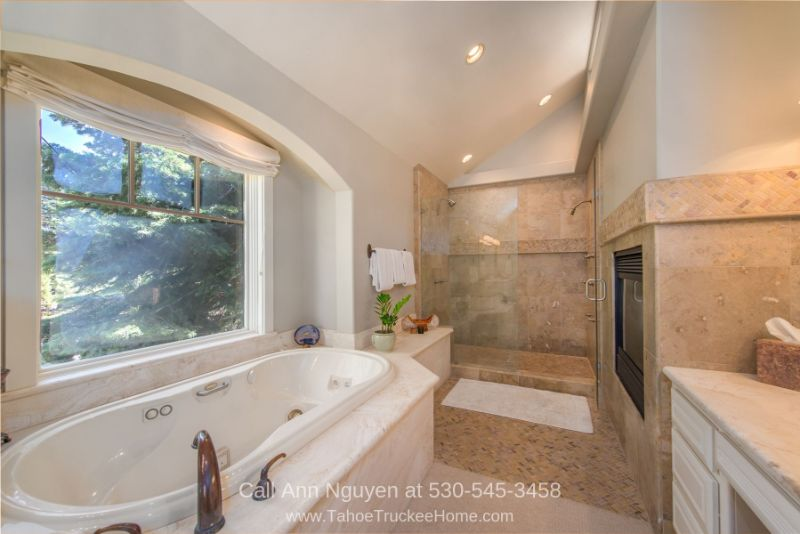 Real Estate Properties for Sale in Tahoe Donner Truckee CA - No expenses were spared in the large master bathroom of this Tahoe Donner CA mountain home.