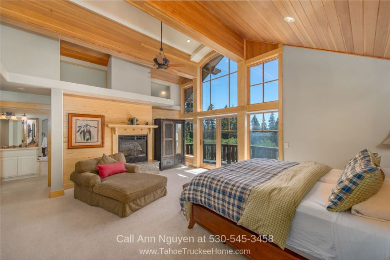 Homes in Tahoe Donner Truckee CA - Enjoy privacy and personal space in the master suite of this luxury Tahoe Donner CA mountain home for sale.
