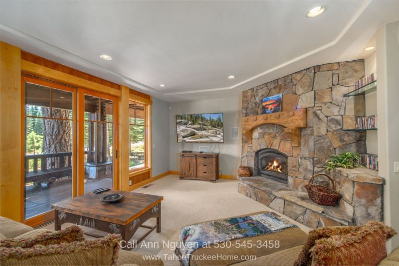 Tahoe Donner Truckee CA Real Estate Properties for Sale - Keep warm and cozy in the family room of this Tahoe Donner home for sale.