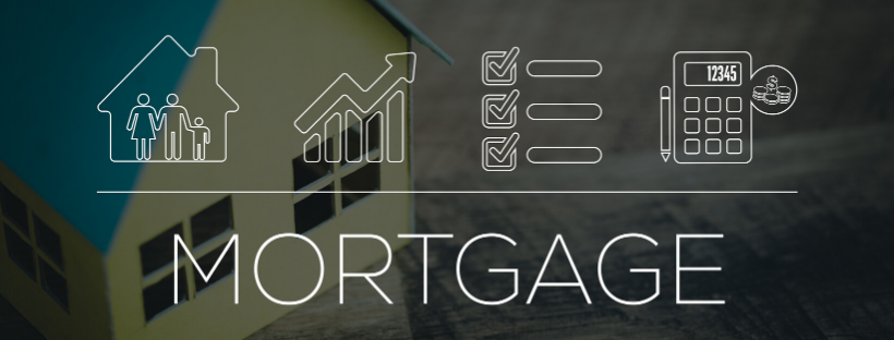 "A background picture of a house, with the text ""Mortgage"" as an overlay."