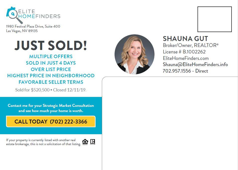 elite home finders just listed just sold postcard 5x7 back