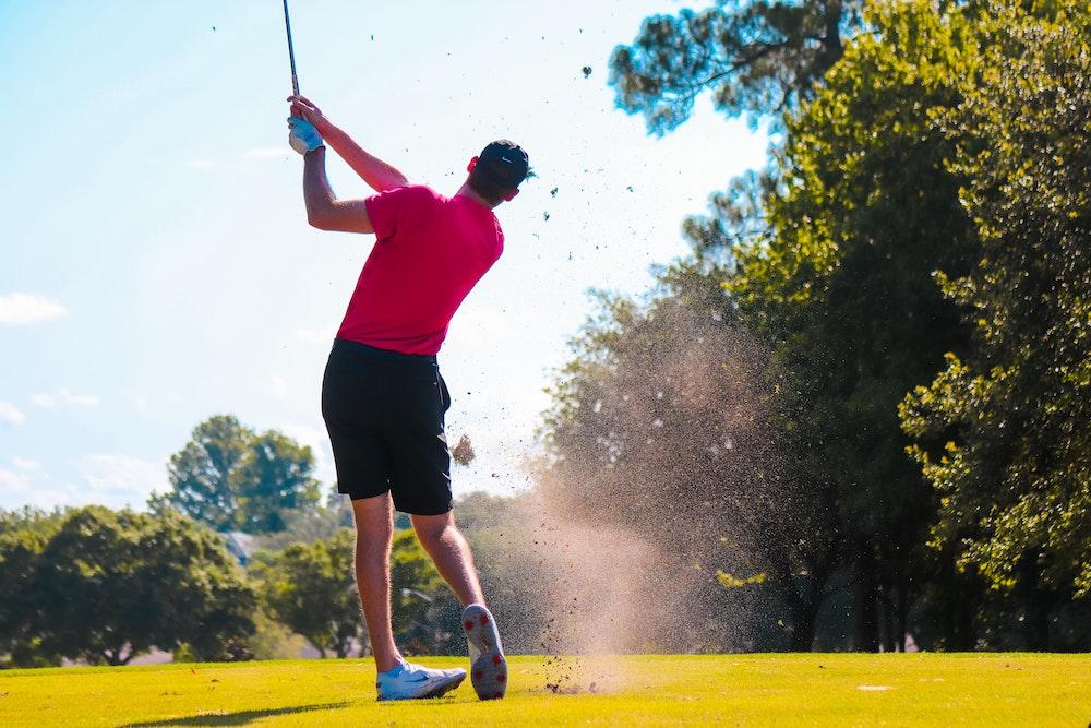 golfer on golf course in Lambertville, Michigan.