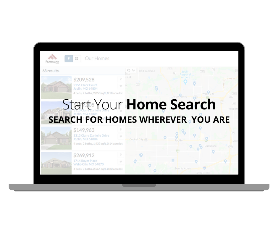"""An image of a laptop with the phrase """"Start Your Home Search. Search for homes wherever you are. Click here to start looking at available homes."""""""
