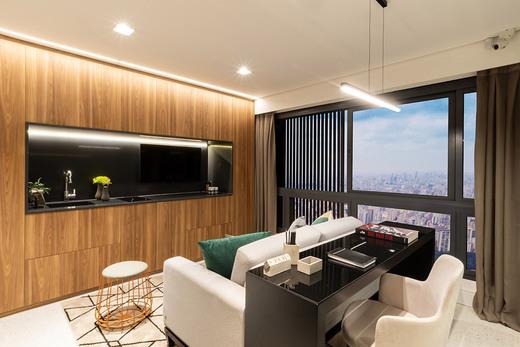 Living decorado - Studio à venda Rua Venâncio Aires,Perdizes, São Paulo - R$ 410.348 - II-5501-13559 - 5
