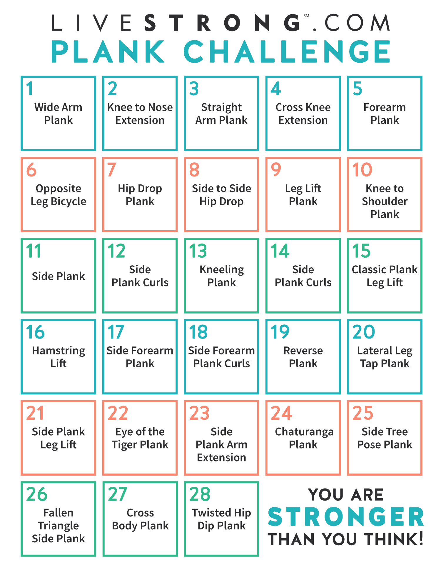 Striking image for plank challenge printable