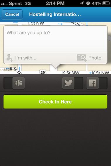 iPhone Foursquare Check-in
