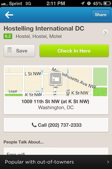 iPhone Foursquare Lugares Cercanos