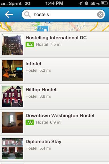 iPhone Foursquare Search Screen