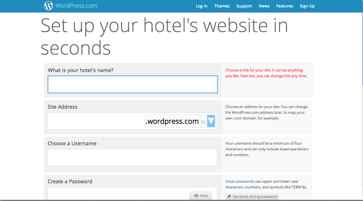 easy website building for your hostel wordpress bananadesk if you want your own web address for example yourhostel com you ll have an annual cost of 18 usd the option is yourhostel wordpress com you can