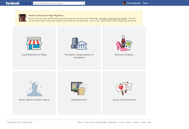 Facebook Migrate to Page - Step 1