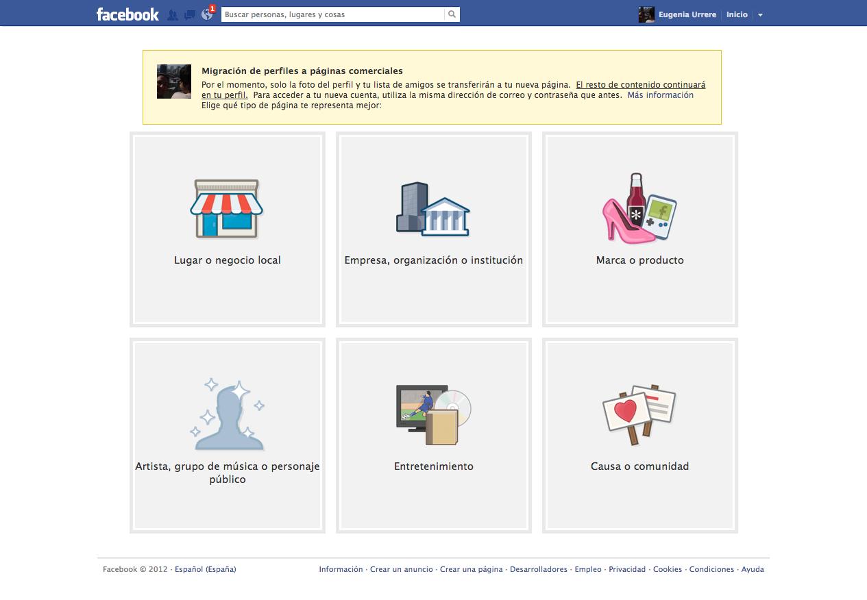 Migracion de Facebook Perfil a Pagina - Step 1