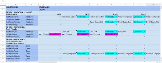 Excel Sheet - Reservas