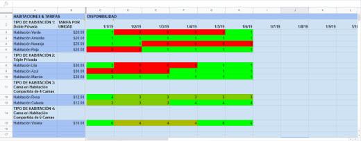 Excel Sheet - Tarifas & Disponibilidad