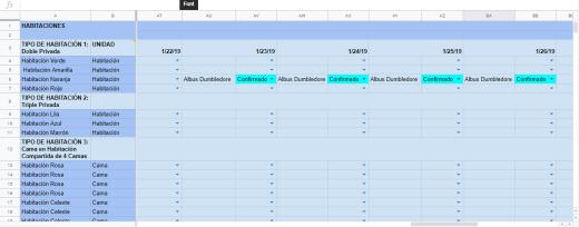 Excel Sheet - Configurar Reserva