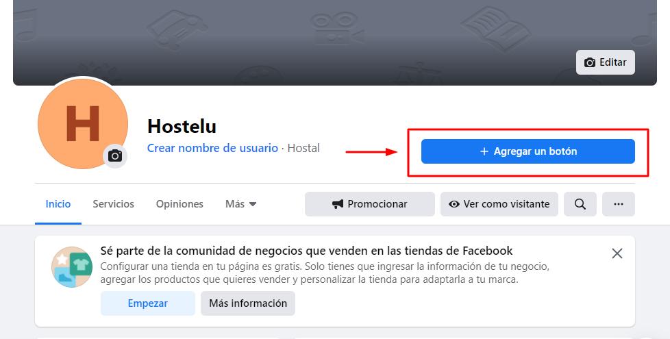 Agregar botón de Reservar en Facebook - Paso 1