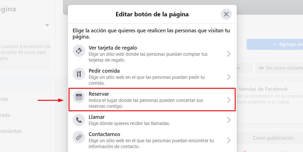 Agregar botón de Reservar en Facebook - Paso 2