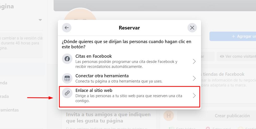 Agregar botón de Reservar en Facebook - Paso 3