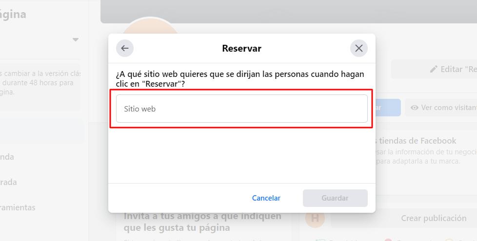Agregar botón de Reservar en Facebook - Paso 4