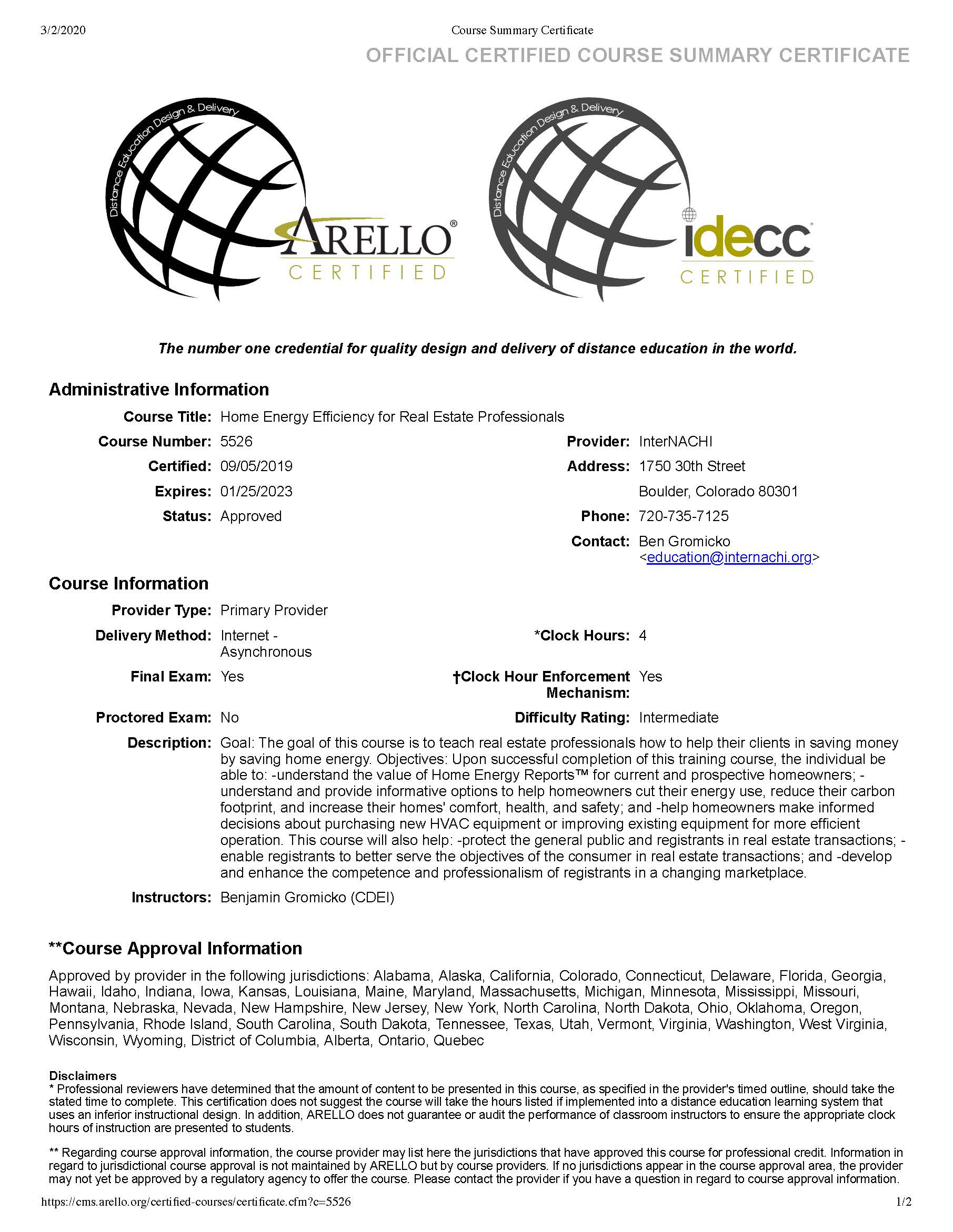 Free Online Arello And Idecc Approved Continuing Education Courses For Real Estate Professionals Internachi