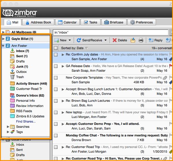 Zimbra Desktop Mail Tab