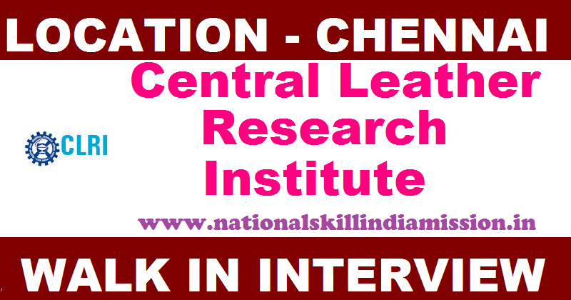 Central Leather Research Institute Recruitment - Staff Nurse in Chennai - Walk in Interview on 23 August 2017