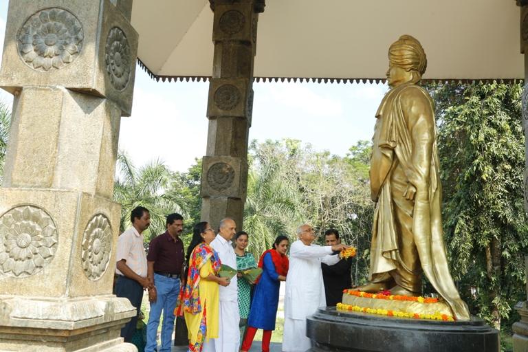 Pushpabhishekam for Swami Vivekananda Statue
