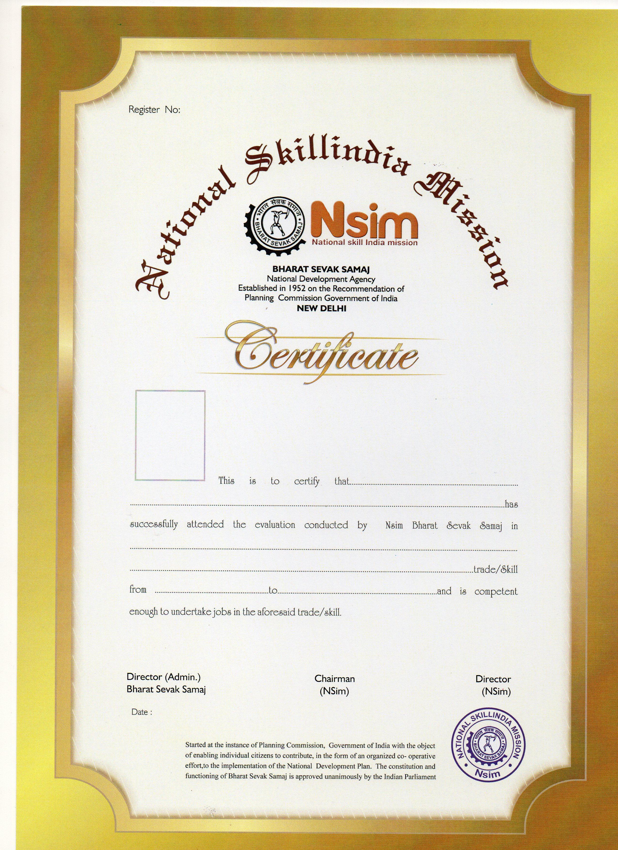 Nsim Certificate