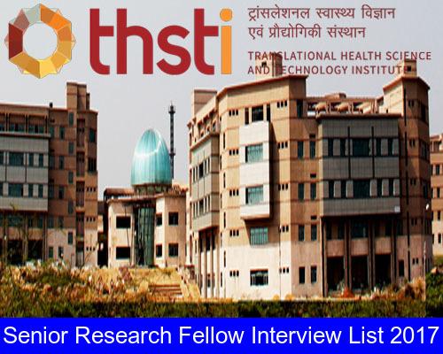 THSTI – Senior Research Fellow Interview List 2017