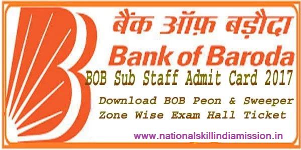 Bank of Baroda – Sub staff 2016 PET Admit Card 2017