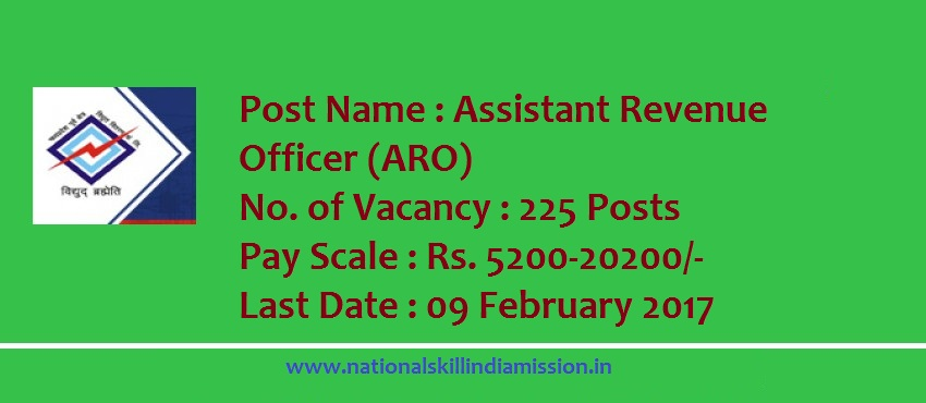Madhya Pradesh Madhya Kshetra Vidyut Vitaran Company Limited-recruitment-225  vacancies-Assistant Revenue Officer-Pay Scale : Rs. 5200-20200/-Apply Now-Last Date 09 February 2017