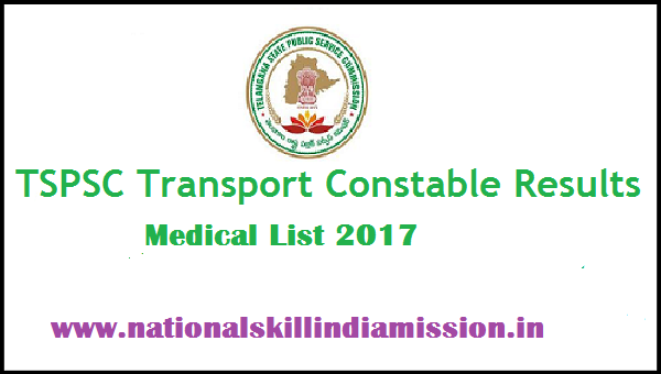 TSPSC – Transport Constable Medical List 2017-Result Published